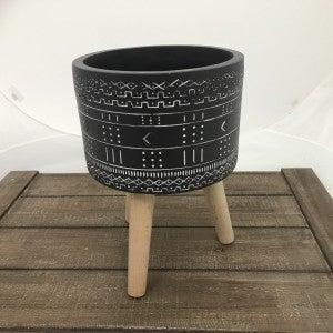 "Tribal Print Resin Pot with Dowel Legs, 14"" Tall"