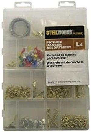 Hillman Assorted Picture Hanger Kit Small 10 Lb Brass Plated, Zinc Asst Colors 10'-7