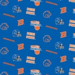 1 Yard College Cut Fabric, Boise State University Logo and Basketball Toss on Blue