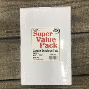 """Card and Envelope Value Pack, 50 Piece, White, 4.25"""" x 5.5"""""""