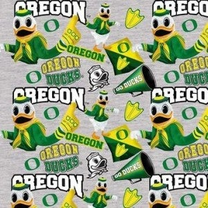 1 Yard College Cut Fabric, University of Oregon Mascot Toss