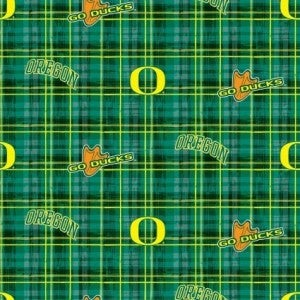 1 Yard College Cut Fabric, University of Oregon Duck Plaid