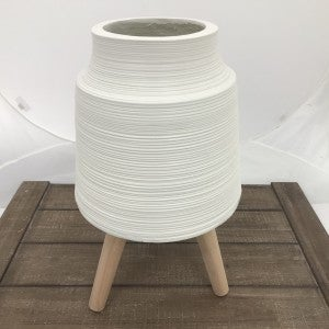 """Striped White Resin Pot with Dowel Legs, 20"""" Tall"""