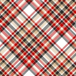 1 Yard Timber Gnomies Cotton Cut Fabric, Bias Plaid