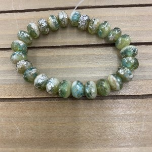 9x6mm Rondelle Bead Strand- Green with Etch Silver