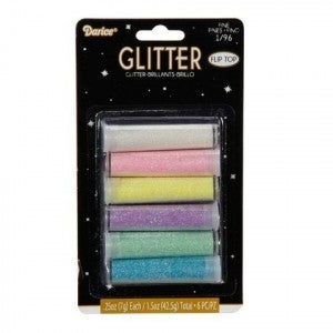 Darice Glitter - Assorted Pastel Colors - 6 Pieces