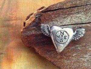 Green Girl Studio Pewter Follow Heart bead