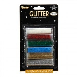Darice Glitter - Assorted Basic Colors - 6 Pieces