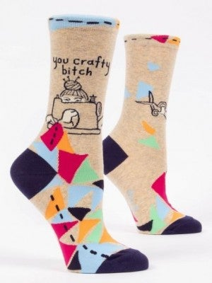 You Crafty Bitch  Women's Crew Socks, Blue Q