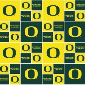 1 Yard College Cut Fabric, University of Oregon Patch Green and Yellow