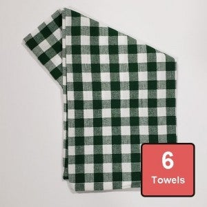 Holly Green Logger Check on White Cotton Tea Towels 6pc