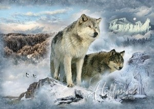 """43"""" x 32"""" Fabric Panel, Call of the Wild, Wolves"""