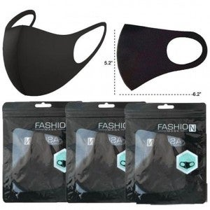 Unisex Face/Mask Covering, Solid Black 4-Piece/Mask