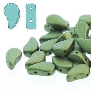 8x5mm Paisley Duo Beads- Gold Dark Green