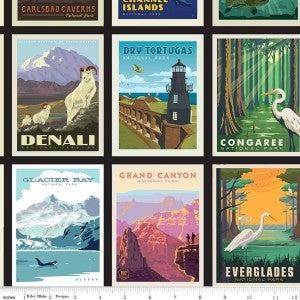 1 Yard National Parks Cut Fabric Panel, Black National Parks Mini Poster