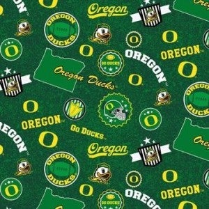 1 Yard College Cut Fabric, University of Oregon Ducks Toss on Green
