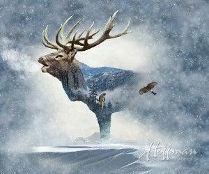 "43"" x 32"" Fabric Panel, Call of the Wild, Elk"
