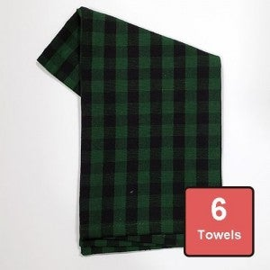 Holly Green Logger Check on Black  Cotton Tea Towels 6pc