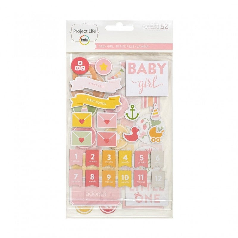 Project Life Baby Girl Chipboard Stickers
