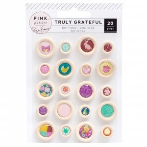 Truly Grateful Wood Button Stickers
