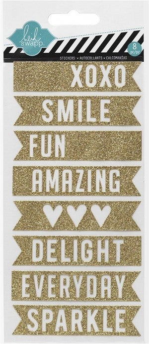 Gold Glitter Banner Stickers