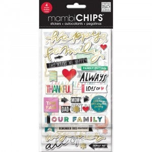 Happy Family Chipboard Stickers