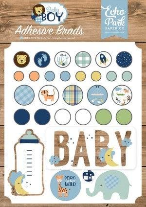Baby Boy Decorative Brads and Chipboard