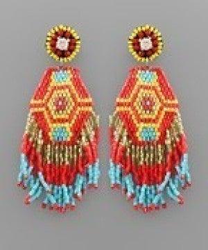 Hexagon Tassel Bead Earrings - Red