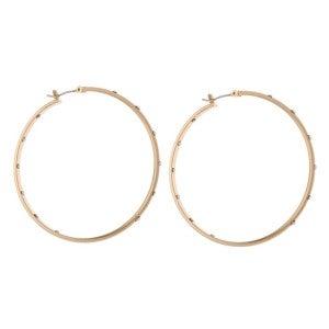 Outer and Inner Rhinestone Hoop Earrings - Gold