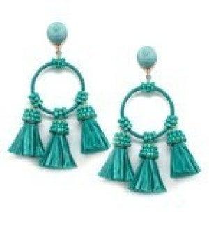 Raffia Tassel & Circle Earrings - Turquoise