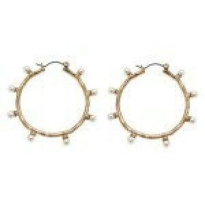 Hammered Pearl Beaded Pin Catch Hoop Earrings