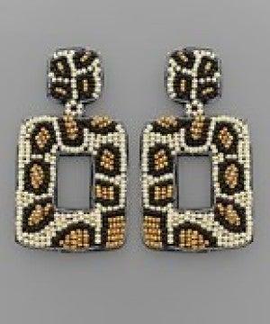 Leopard Bead Rectangle Earrings