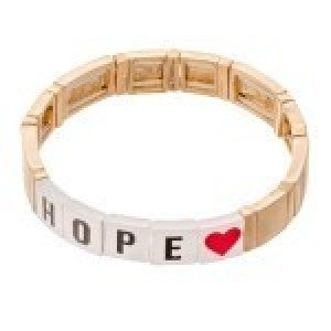 Gold Tone Enamel Coated Tile Letter Block Stretch Bracelet with Heart Detail - Hope