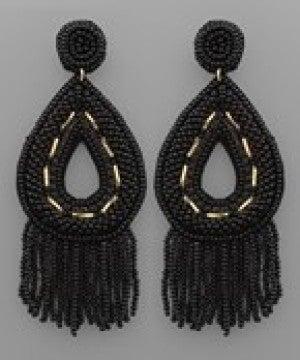 Seed Bead Teardrop & Tassel Earrings