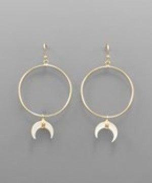 Mother of Pearl Tusk Charm Earrings