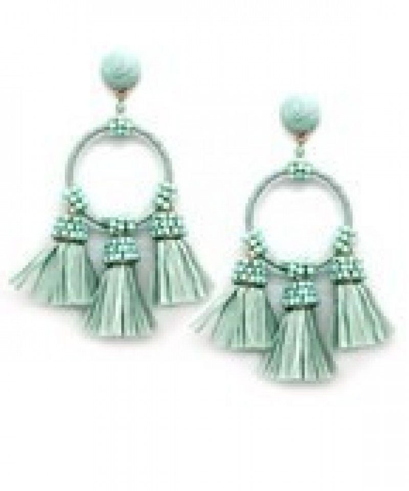 Raffia Tassel & Circle Earrings - Mint