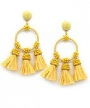 Raffia Tassel & Circle Earrings - Yellow