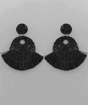 Tassel Trim Seed Bead Disk Earrings - Black