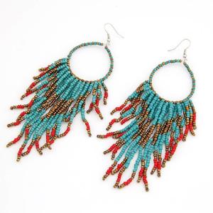 Teal Bohemian Beaded Tassel Earrings