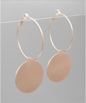 Disc Dangle Earrings - Rose Gold