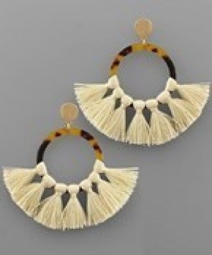 Acrylic Circle and Tassel Earrings