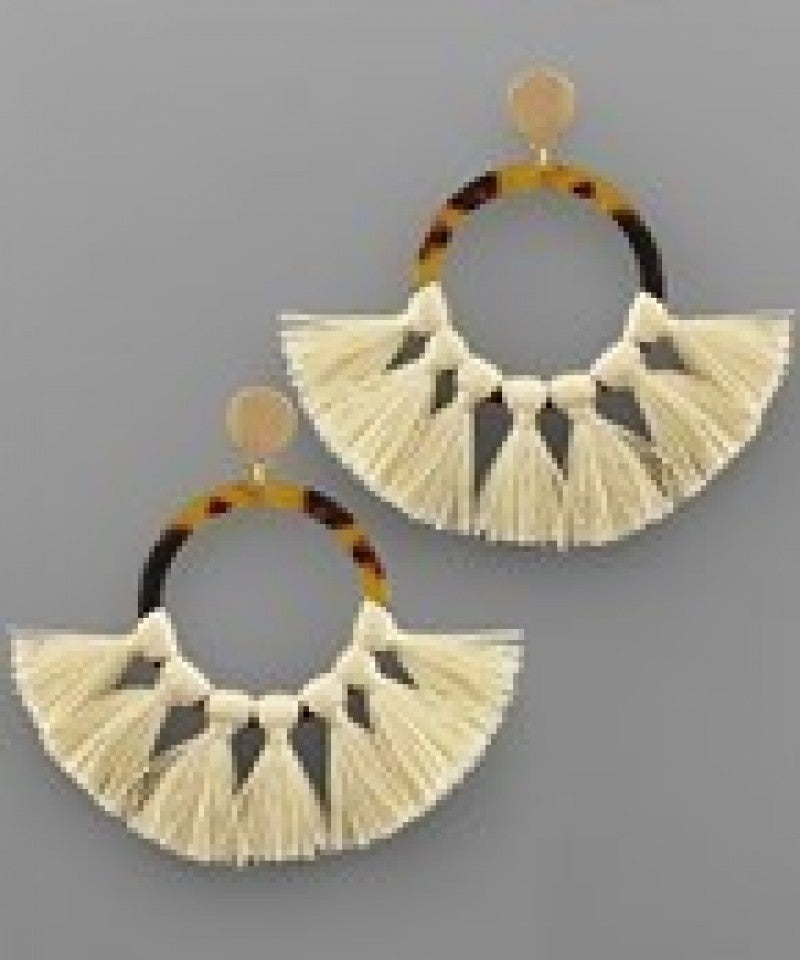 Acrylic Circle and Tassel Earrings
