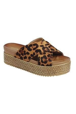 Out of Town Platform Sandals - Leopard