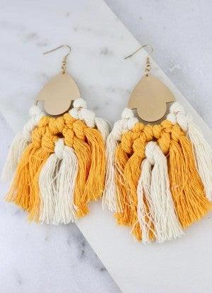Mackey Knotted Thread Fringe Metal Fish Hook Earrings