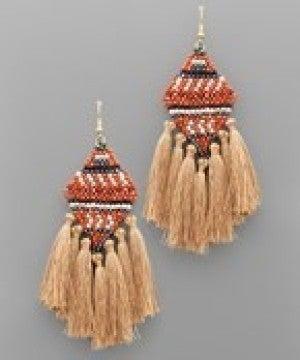 Rhombus Bead & Tassel Earrings