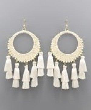 Circle Raffia and Tassel Earrings - Ivory