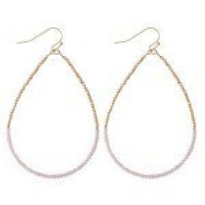 Half & Half Dainty Beaded Teardrop Earrings - Dusty Pink