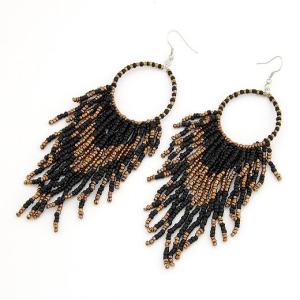 Black Bohemian Beaded Tassel Earrings