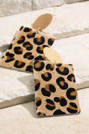 Leather Leopard Earrings