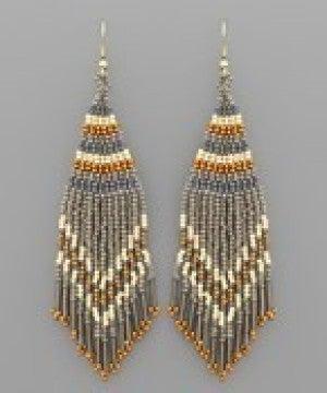 Triangle Bead Tassel Earrings - Grey